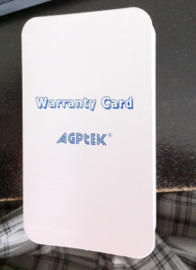 agptek warranty card