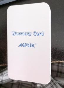 agptek warranty card