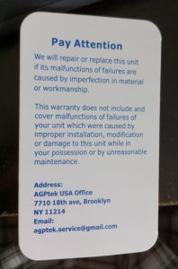 agptek warranty card back